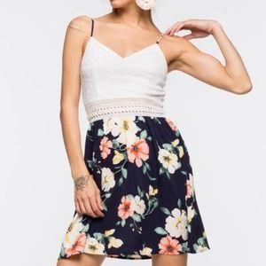 Floral crochet mini dress